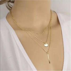 Gold Filled Triple Layer Circle Bar Necklace