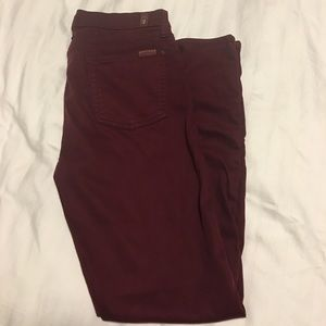 Women's 7 for All Mankind's cranberry skinny's.
