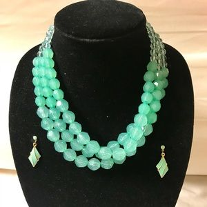 Aqua green beaded statement necklace with earrings