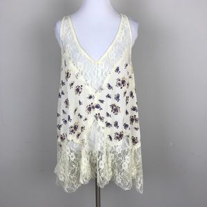 [Free People] Floral Lace Boho Top Ivory Gypsy M