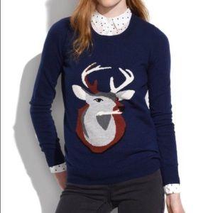Madewell Deer print sweater M Medium navy