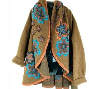 CHARLOTTE Louis Brown Sz 16 Brown Floral Wool-Blen