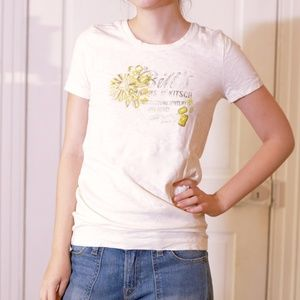 J Crew Floral and Font Graphic Off White T-Shirt