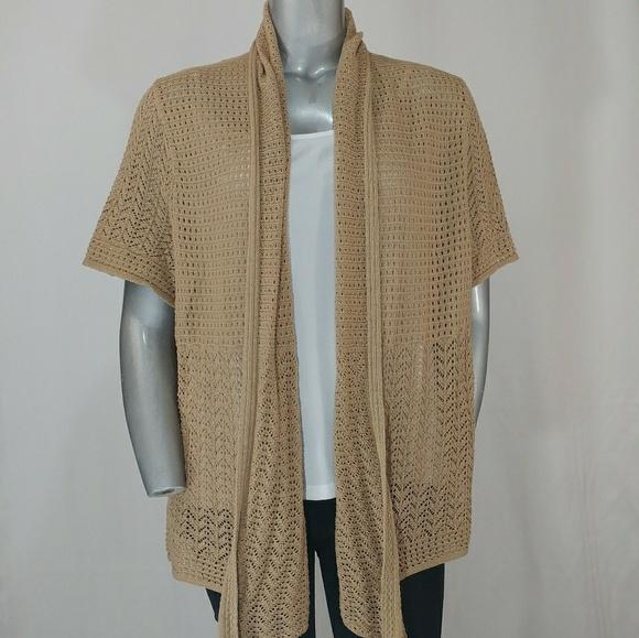 aae603a49ea Dress Barn Tan Light Lacy Cotton Knit Cardigan