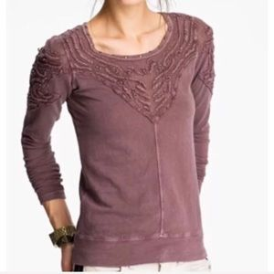 Free people Barton Springs embroidered LS top S