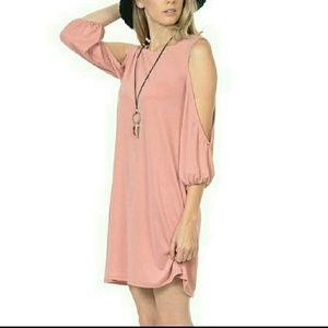 Dusty Rose Open Arm Dress