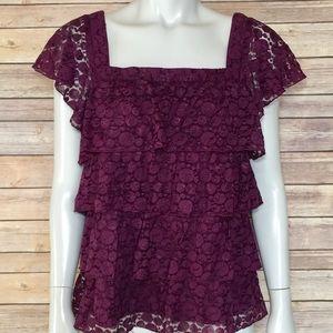 {apt. 9} purple lace tiered blouse