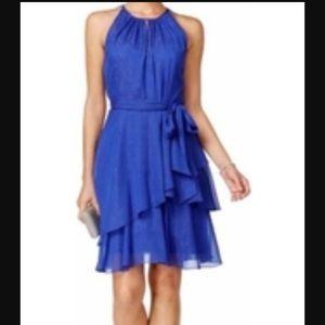 NWOT Tahari ASL Shimmery Blue Party Dress 10