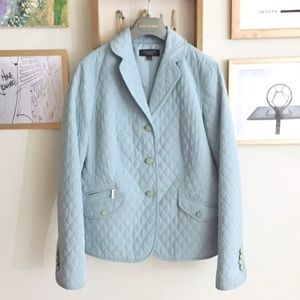 Talbots light blue quilted puffy jacket blazer
