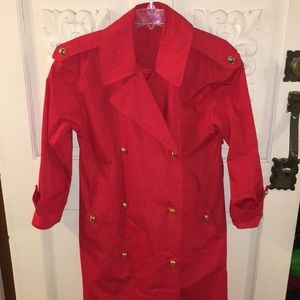 Aquascutum red dotted raincoat