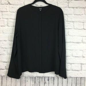 Eileen Fisher 100% Silk Hidden Button Top