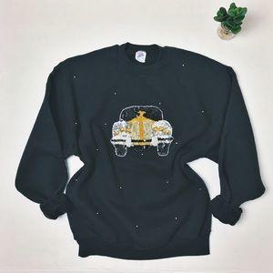 VINTAGE Sequin Car Crewneck Sweatshirt