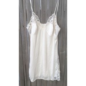 Vintage silk + lace nude slip