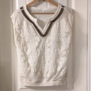 Floreat Anthropologie Lace Overlay Beaded Blouse