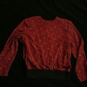 Vintage 80's Red Leopard Print Blouse - Size14