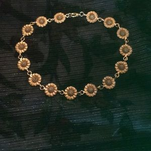 Vintage Gold Matte Sunflower Choker