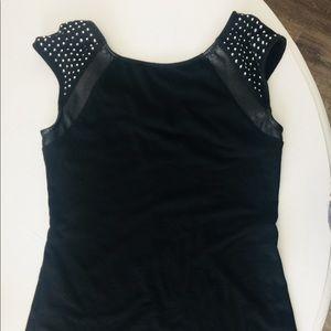 Express black top w/ faux leather&diamonds Size S