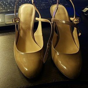 Franco Sarto nude patent heels