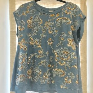 Anthropologie Top Embroidered with Sequins