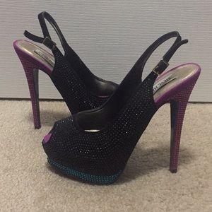 Jeweled, peep toe heels