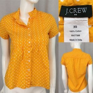 🌳Sz XS J. Crew Short Sleeve Polka Dot Button Down