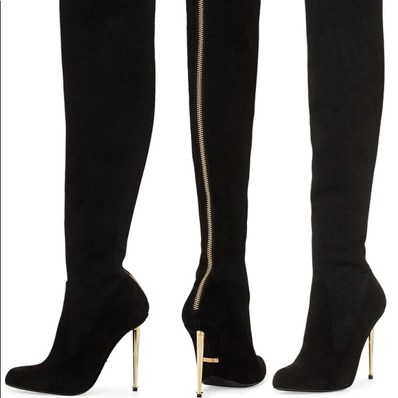 e332d35837 Tom Ford Shoes | Over The Knee Suede Boots Gold Zipper | Poshmark