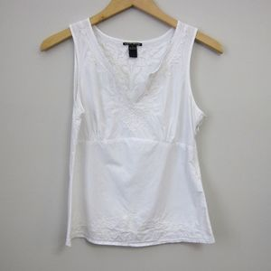 Lucky Brand embroidered white tank