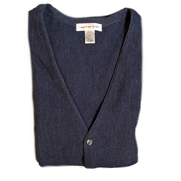 53% off cypress links Other - 2XLT TALL Navy Button Down Sweater ...