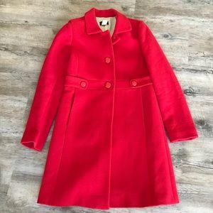 J.Crew red wool long coat Sz 4