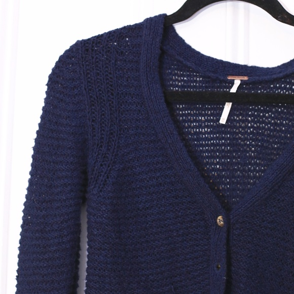 76% off Free People Sweaters - FP Loose Knit Navy Blue Button up ...