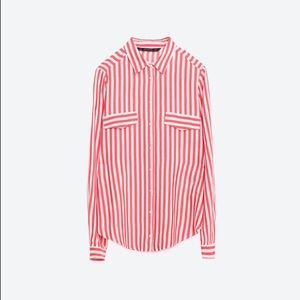 Zara red and white striped button up