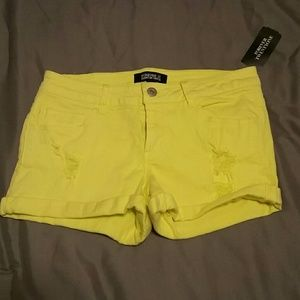 *NWT* Forever 21 bright yellow denim shorts