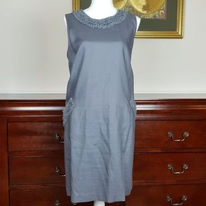 Loft Gray Ruffle Trim Shift Dress Size 14