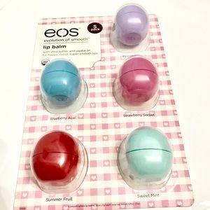 Eos lip balm set of 5 , 5 different fruit flavors