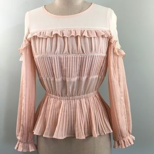 bebe // Pale Pink Pleated Edwardian Ruffle Blouse