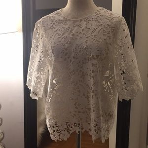 Zara White Lace Top Size Large