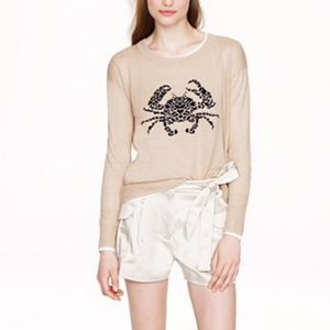 🆕 J. Crew Linen Embroidered Crab Sweater