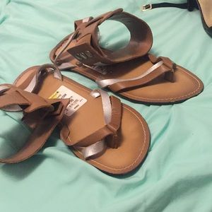 Brown and silver sandals
