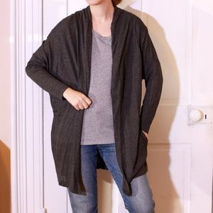 Zara Long Drapey Open Front Dark Grey Cardigan