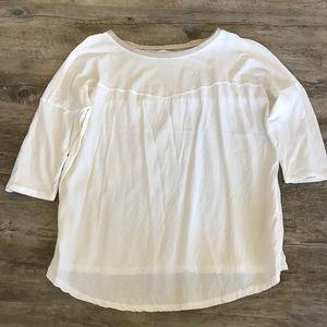 Zara white gold trim shirt blouse Sz M GUC