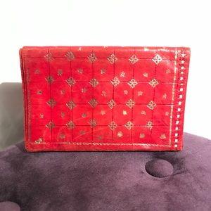 Vintage Genuine Leather 22k Gold Embossed Wallet