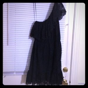 Black one shoulder lace dress sexy large new sexy