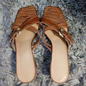 Franco Sarto brown leather heels Size 7.5 m