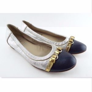 Shoes - AGL Silver Blue Leather Ballet Flats 39