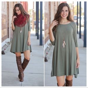 Olive 3/4 sleeve dress