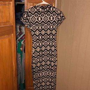 Mid calf black and white designed dress