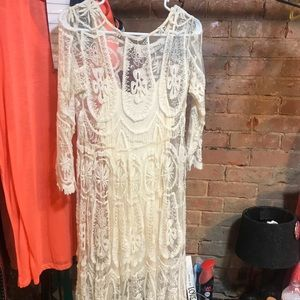 Cream, lace, long sleeve NWOT