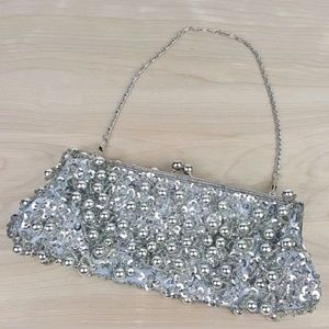 Lapis Silver Beaded & Sequin Clutch Evening Purse