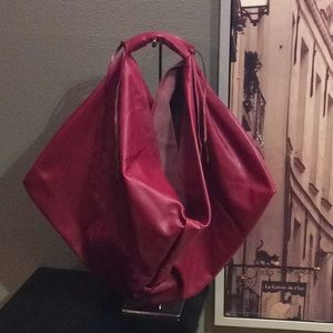Handmade Italian Red Leather Hobo