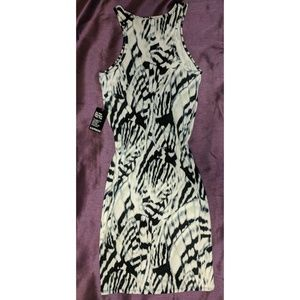 Express fitted maxi print black/white l